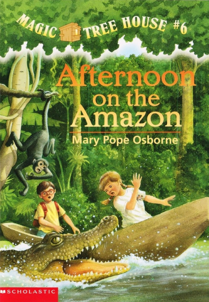 Afternoon on the Amazon AUTHOR: Mary Pope Osborne ILLUSTRATOR: Sal Murdocca SERIES: Magic Tree House ; book 6 LOCATION: FIC OSB (Series) Jack, Annie, and Peanut the mouse ride in a tree house to the Amazon rain forests, where they encounter giant ants, flesh-eating piranhas, hungry crocodiles, and wild jaguars.