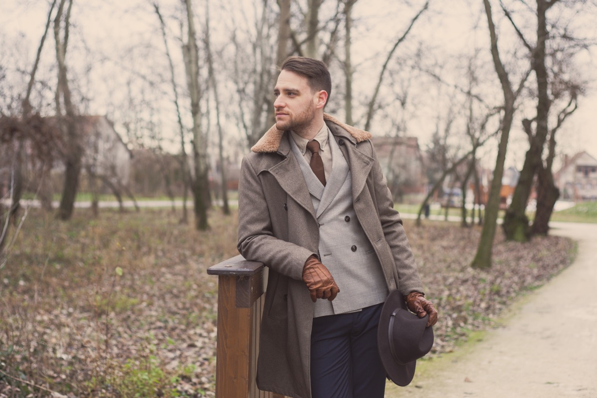 man wearing a double-breasted jacket