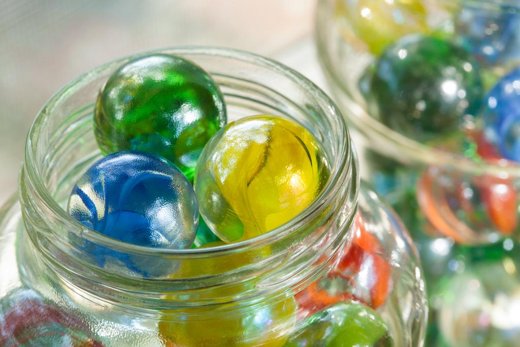 Marbles in mason jars Tricks for hiding children's toys