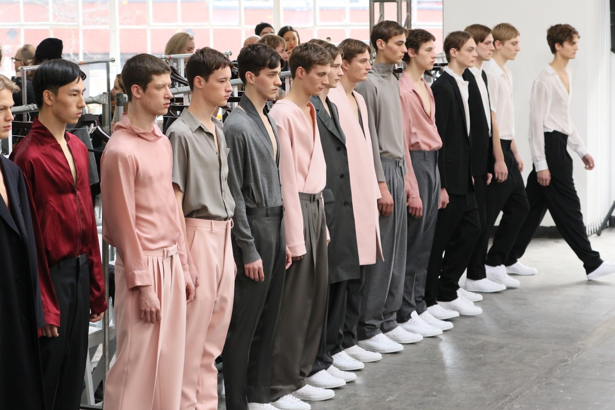 men wearing pleated pants at duckie brown fashion show