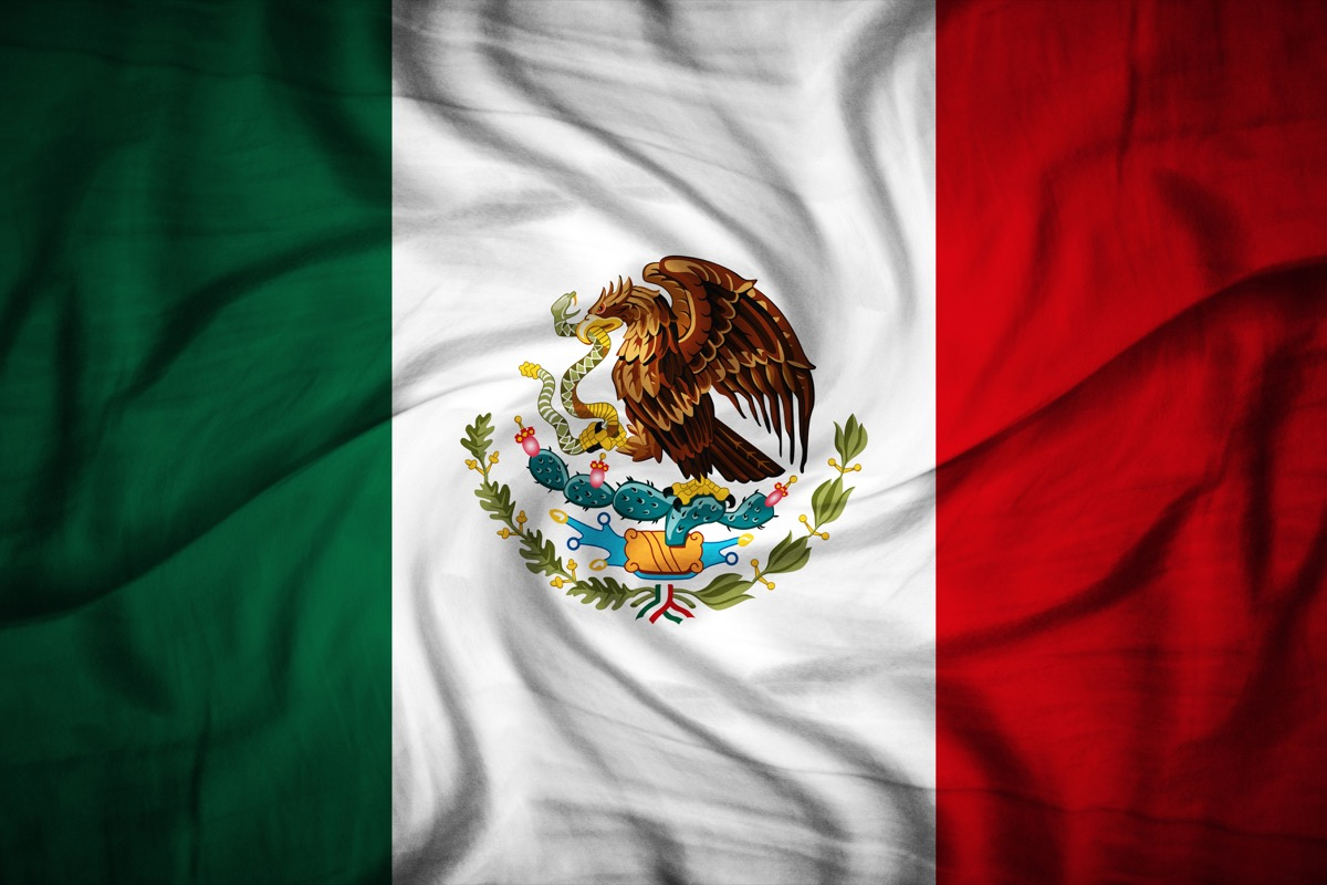 Flat laying Mexico flag
