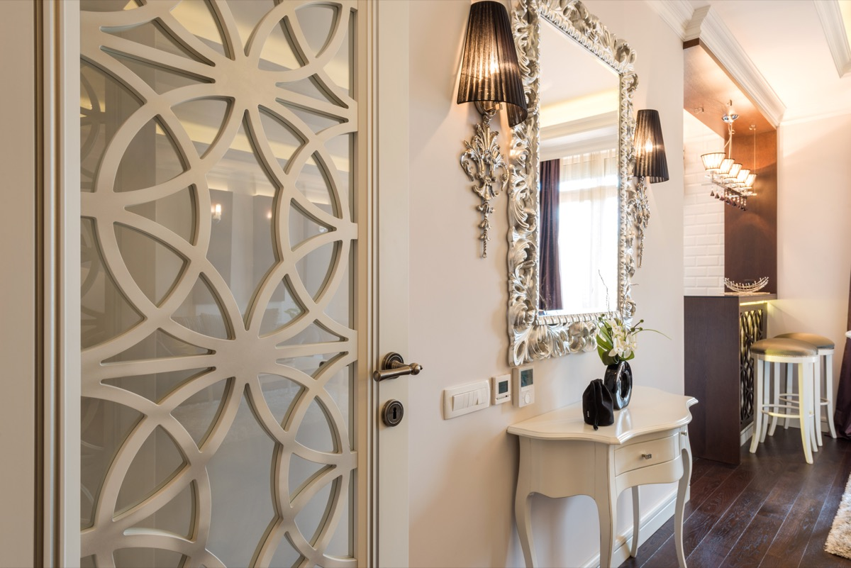 Mirror with white overlay