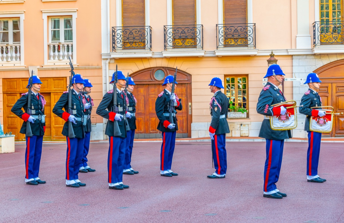 MONACO, MONACO, DECEMBER 29, 2017: Change of royal guard in front of the prince's palace in monaco - Image