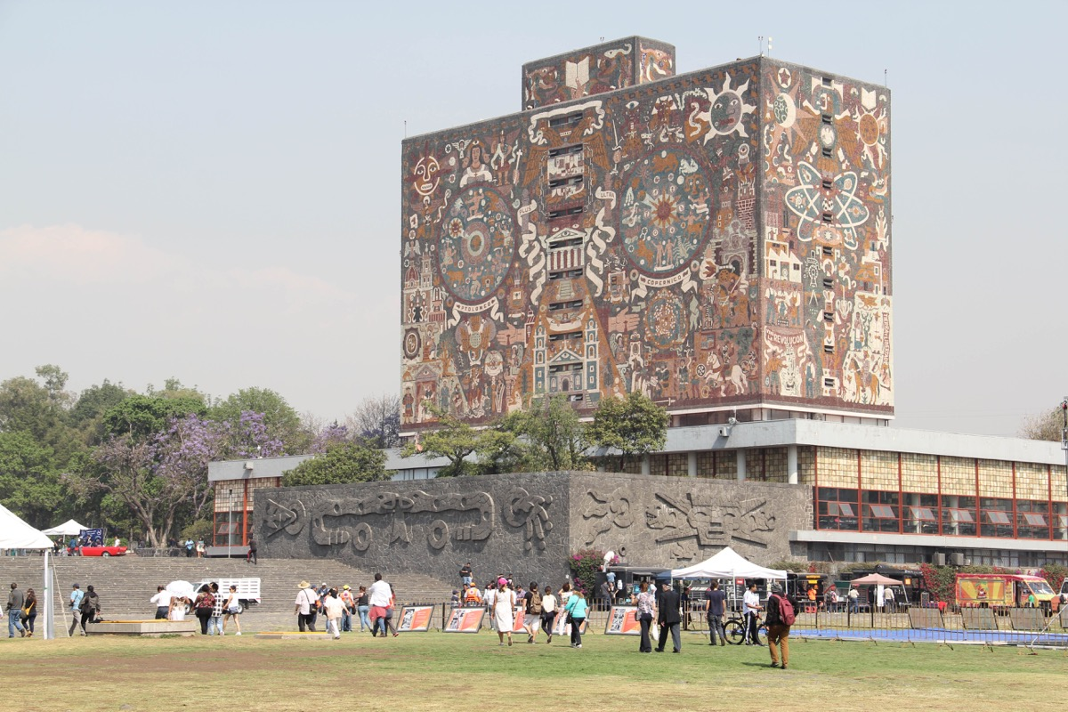 The Central Library of the National Autonomous University of Mexico (UNAM), covered with a mural by Juan O'Gorman, a UNESCO World Heritage Site