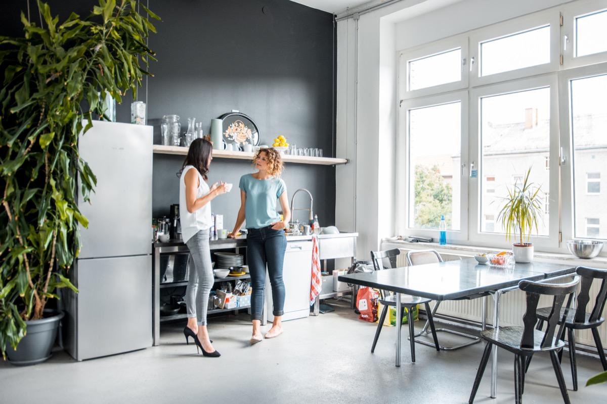 office break room with fridge