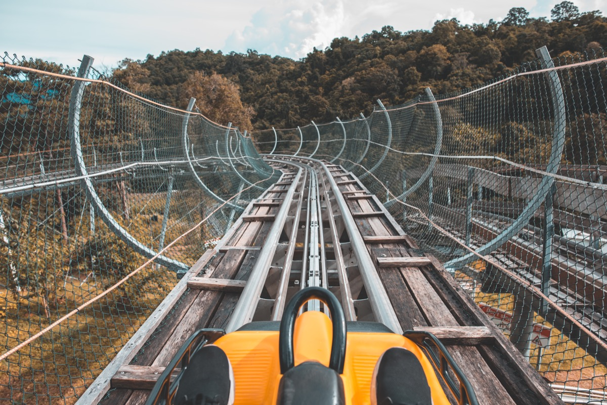 Front passenger perspective of an old roller coaster