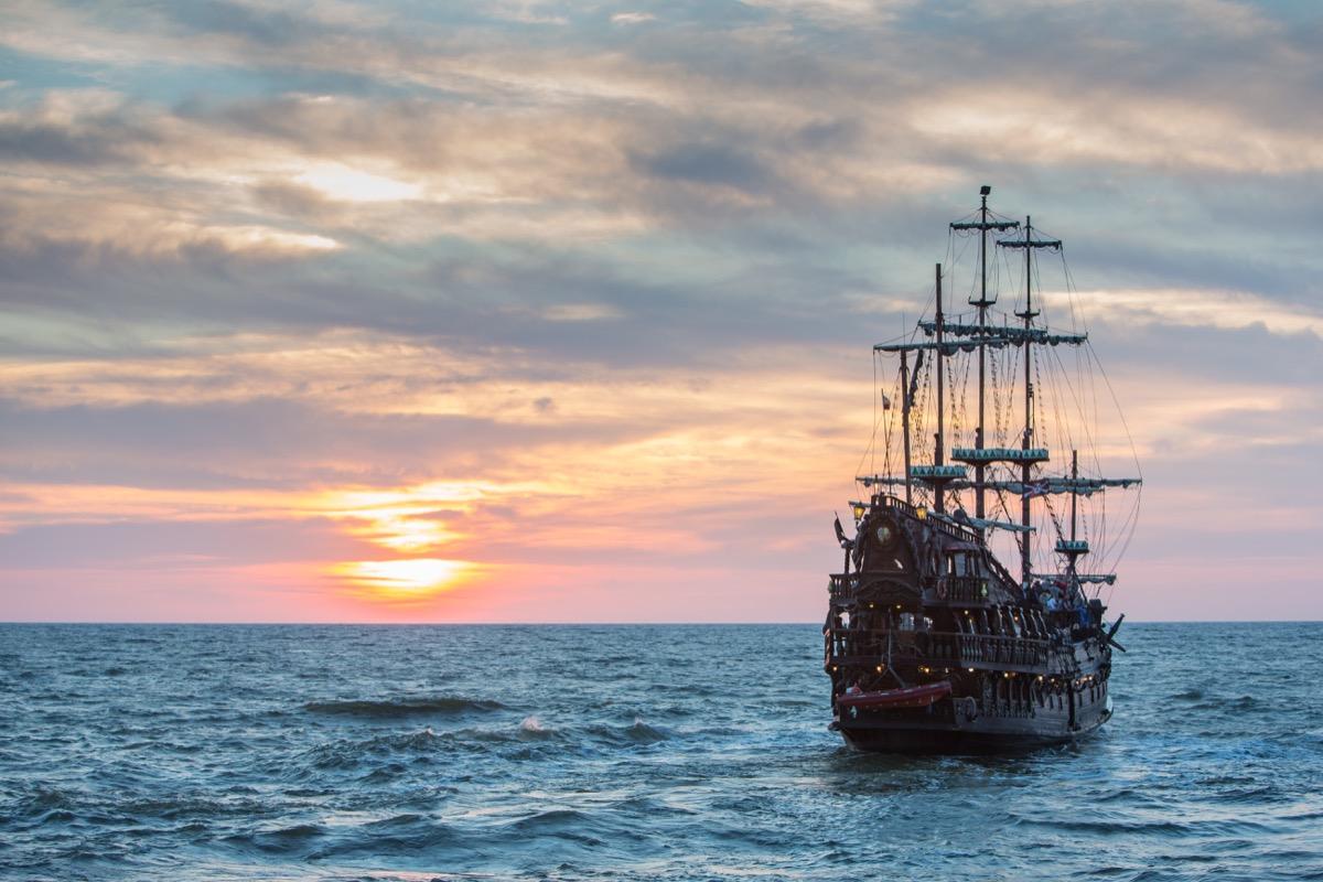 Old ship out at sea