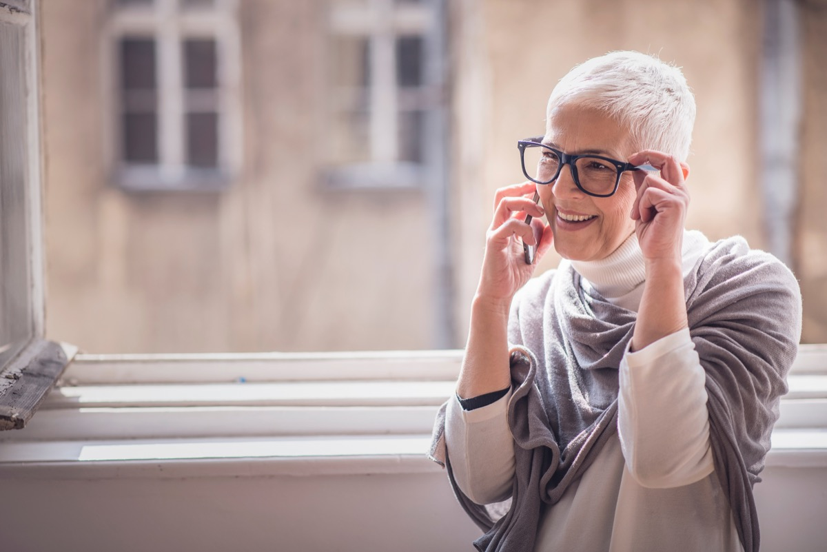 Older woman on phone call