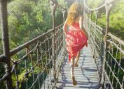 woman running across bridge in life experience