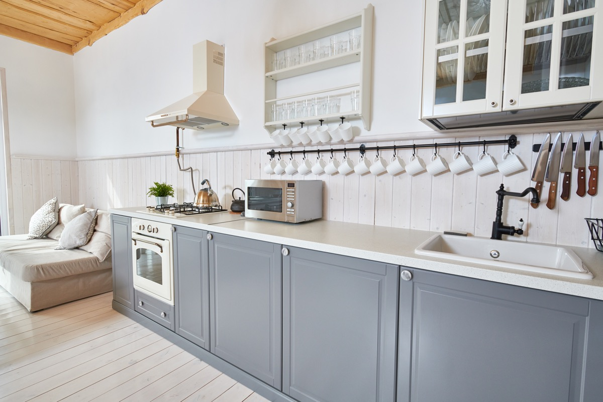 Painted gray kitchen cabinets