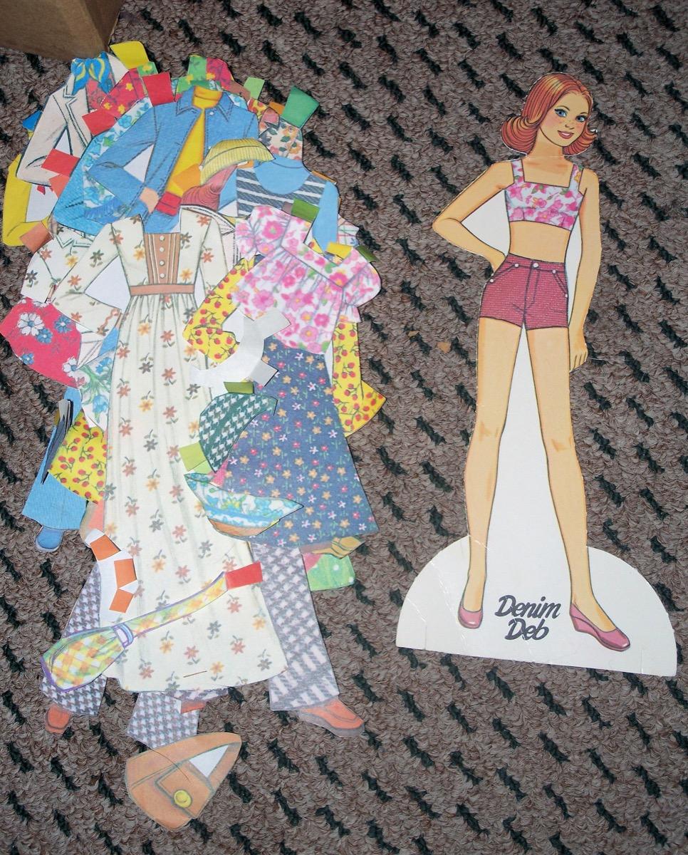 Vintage paper doll toy denim deb