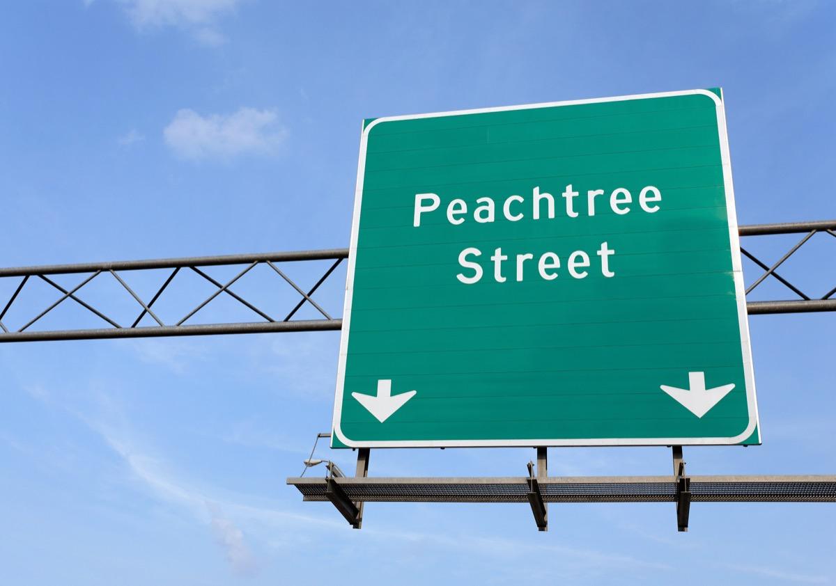 A Peachtree Street sign in Atlanta, Georgia.