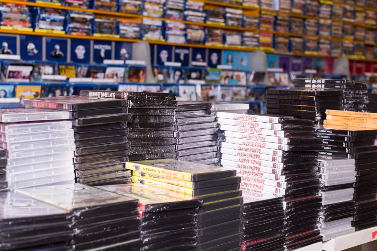Piles of DVDs {Checkout Counter}