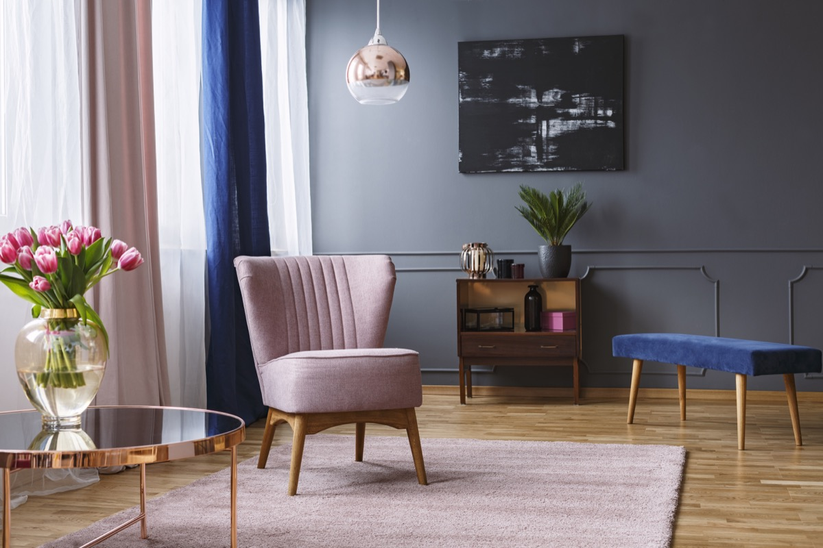 Pink and blue accented posh living room
