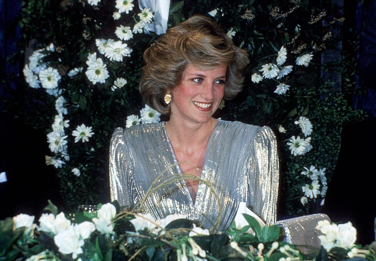 Princess Diana in silver dress