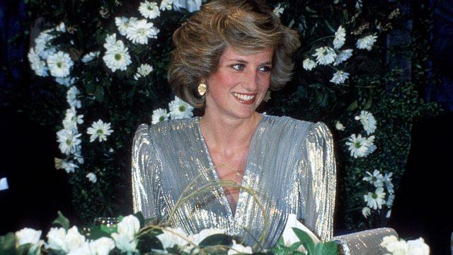 Princess Diana, the Princess of Wales, wearing a Bruce Oldfield dress. Image shot 03/1985.