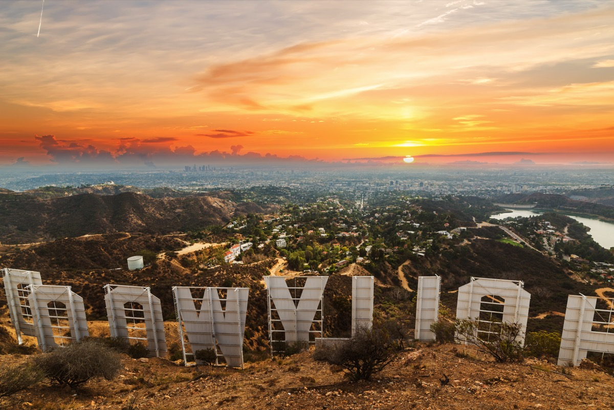 a rear view of the hollywood sign in hollywood, los angeles