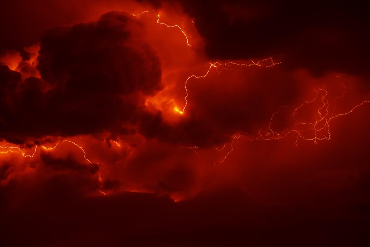 Awesome thunderbolt in dark night sky.