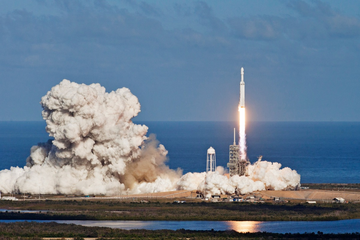 Rocket launch. Elements of this image furnished by NASA