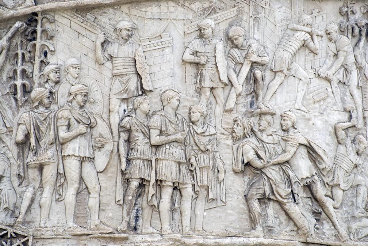 image of theTrajan's Column (in Italian: Colonna Traiana).It is a Roman triumphal column in Rome, Italy, that commemorates Roman emperor Trajan's victory in the Dacian Wars. - Image