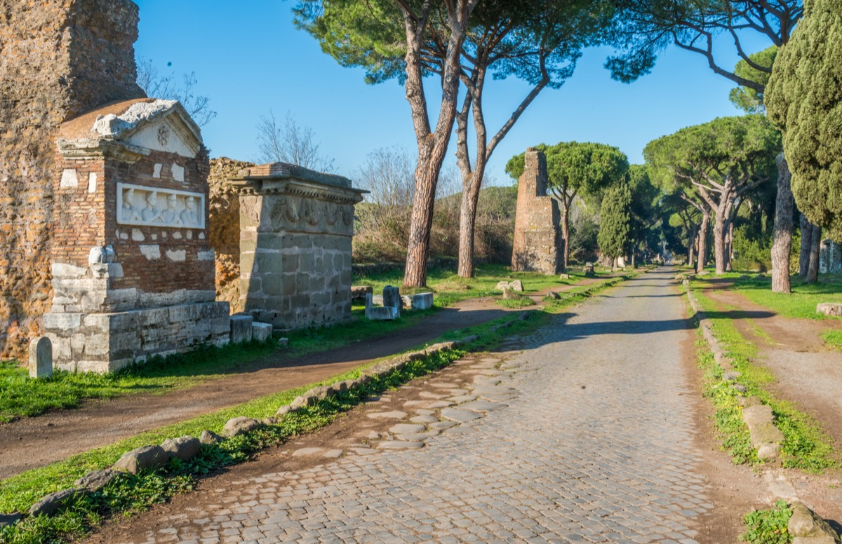 The ancient Appian Way (Appia Antica) in Rome. - Image