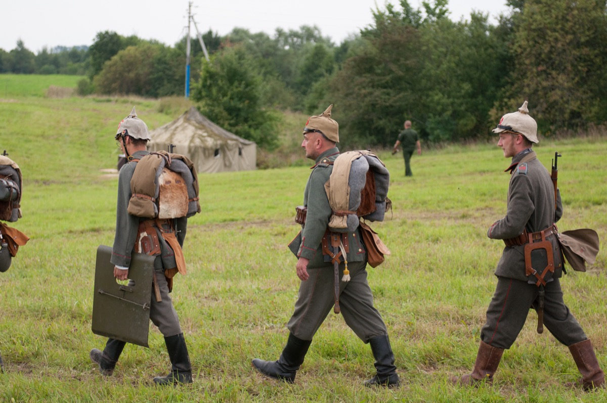 Historical reenactment of the Battle of Gumbinnen, World War I, German soldier Kaliningrad region, Russia.