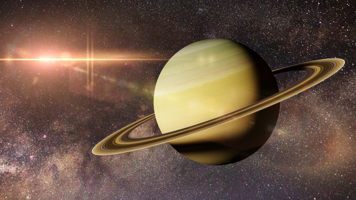 planet Saturn in front of the Milky Way galaxy (3d illustration, elements of this image are furnished by NASA) - Illustration