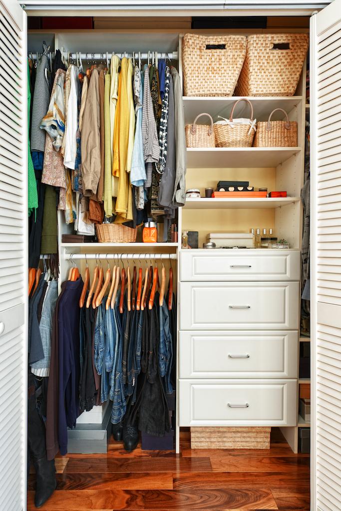 Shelves in Closet Tricks for hiding children's toys