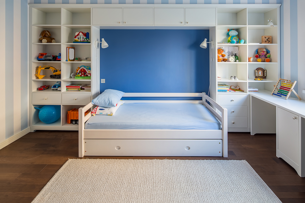 Shelves with Toy Storage Tricks for hiding children's toys