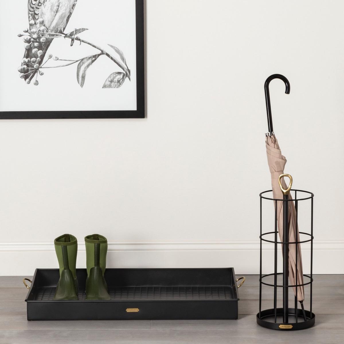 Front Door Shoe Tray {Winter Home Essentials}