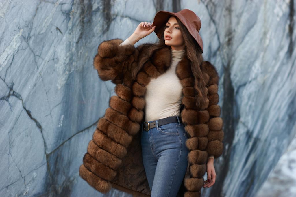 woman wearing fur