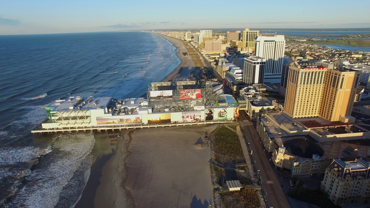 overhead view of atlantic city and the boardwalk