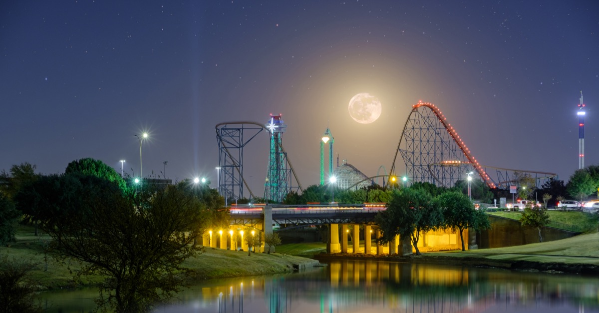 ARLINGTON, TEXAS, USA - November 23,2018, Arlington Texas Six Flags night light,