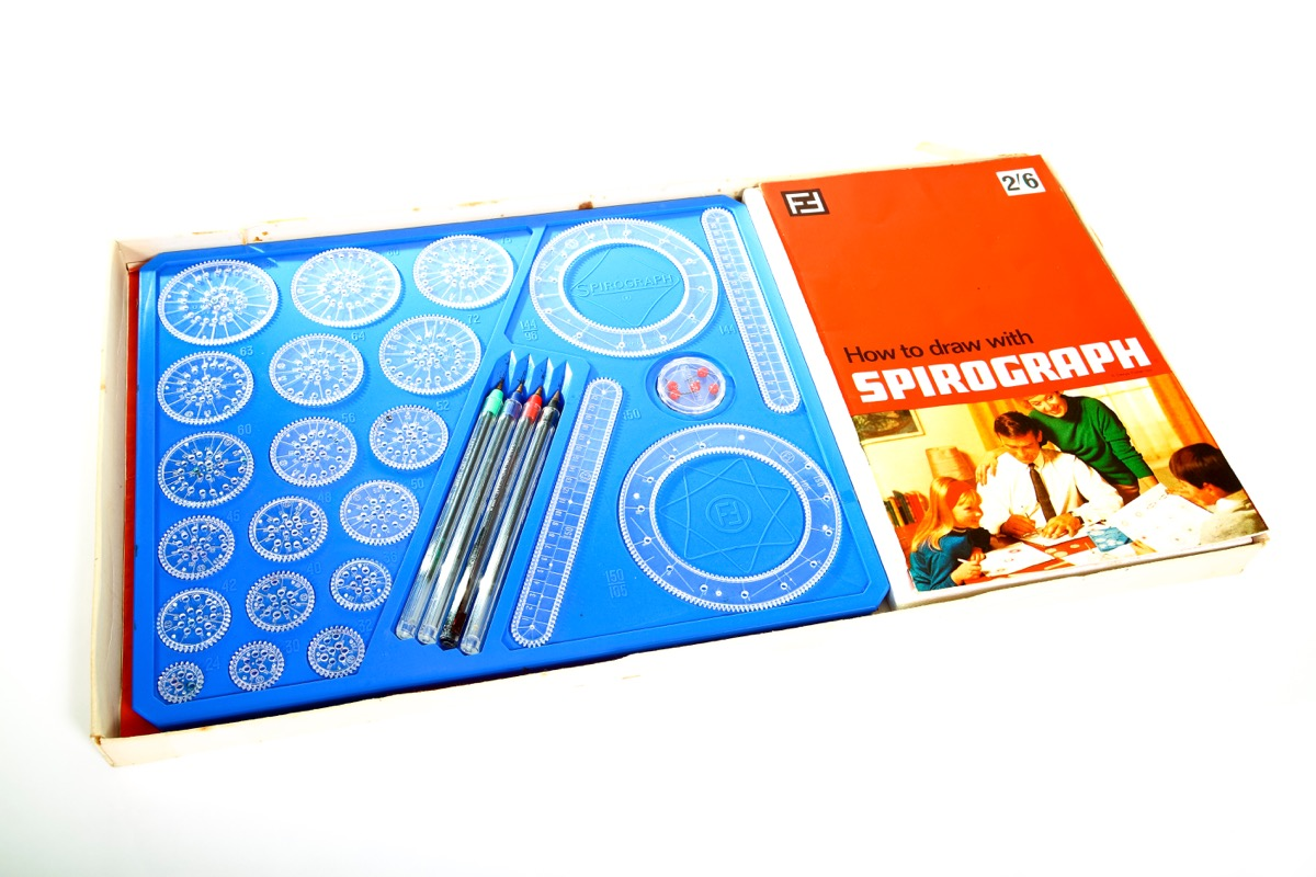 Leeds England UK August 25 2018 Old tatty fisher toys spirograph set box isolated on a white background - Illustrative Editorial - Image
