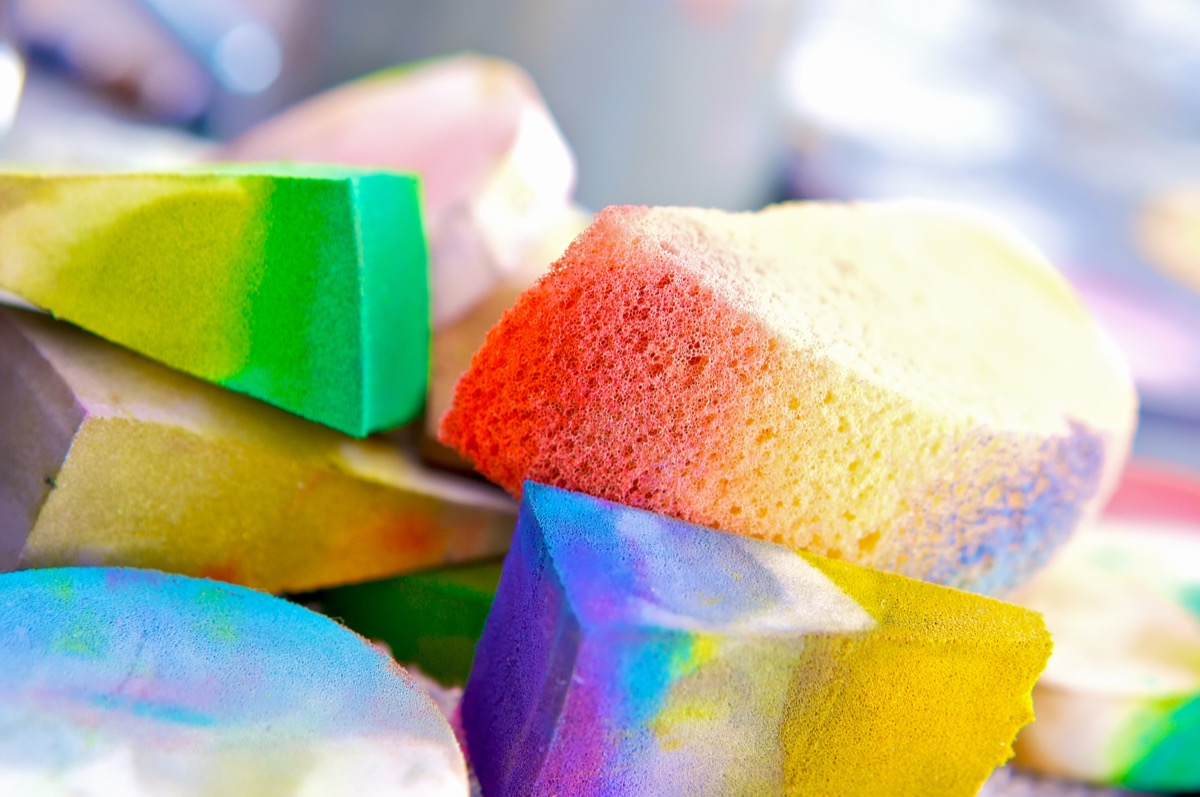 Abstract of Colorful Sponges full of Paint