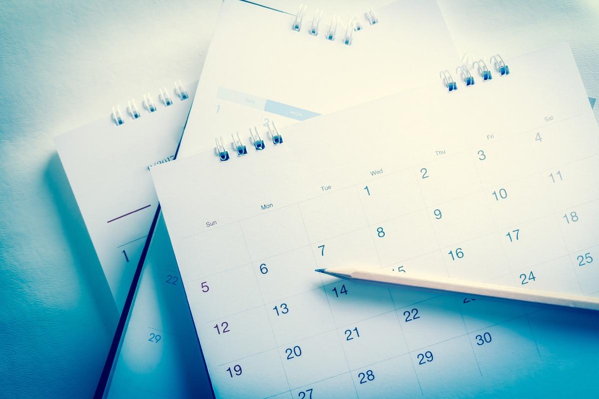 stack of blank calendars