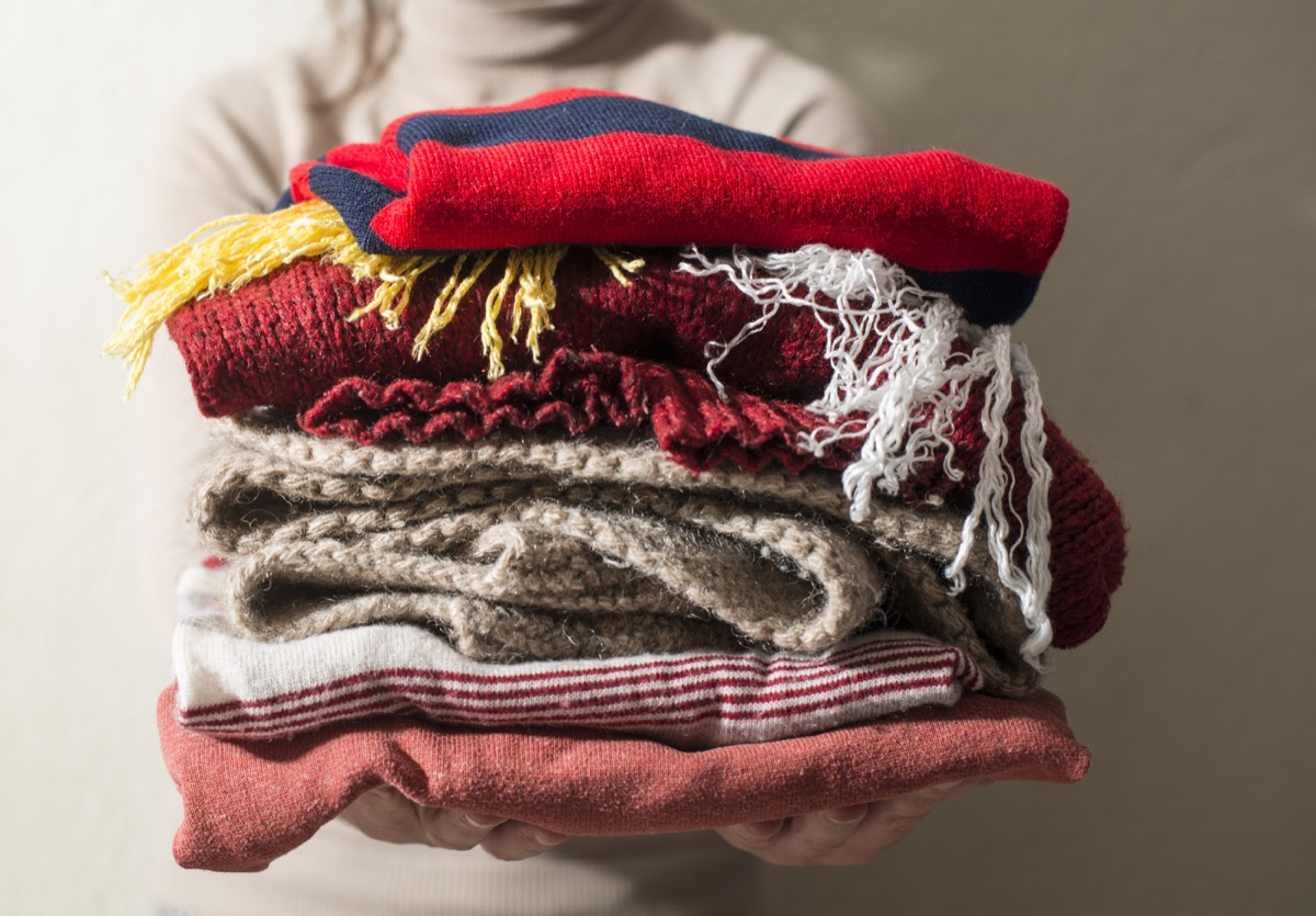 Stack of Winter Sweaters {No Closet Space}