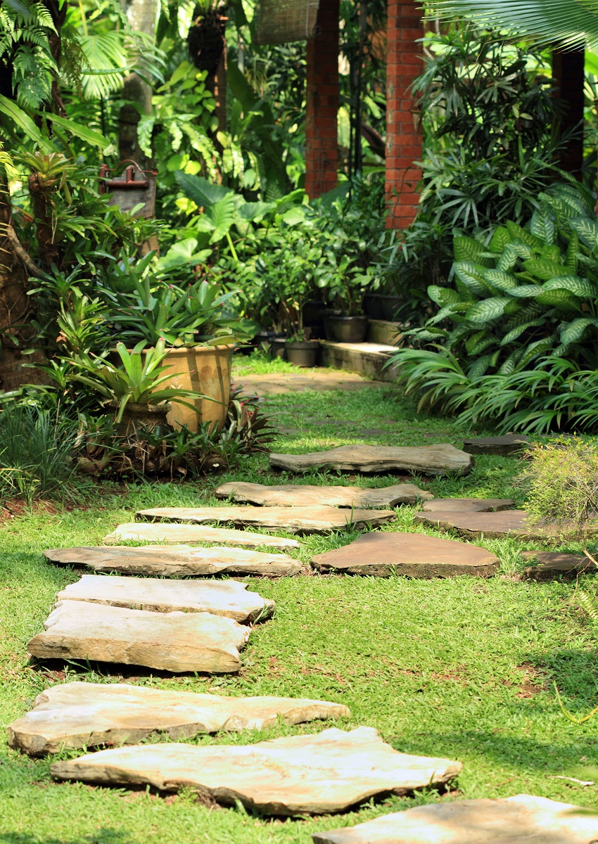 Stone path in yard Affordable ways to remodel your home