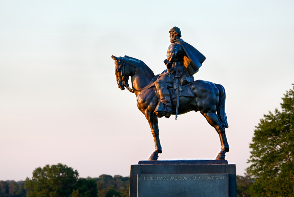 Sunset view of the statue of Andrew Jackson at Manassas Civil War battlefield where the Bull Run battle. The statue was acquired for the nation in 1940. 2011 is the sesquicentennial of the battle