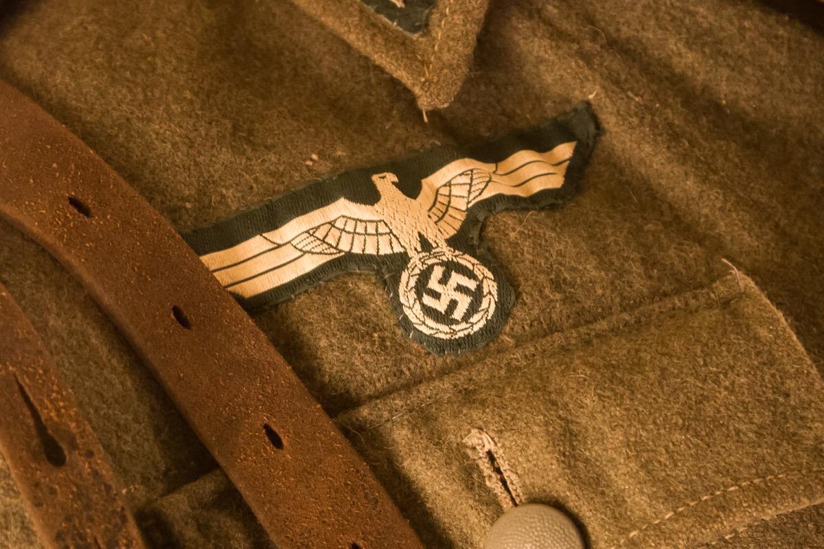Closeup of a german uniform from WW2, selective focus