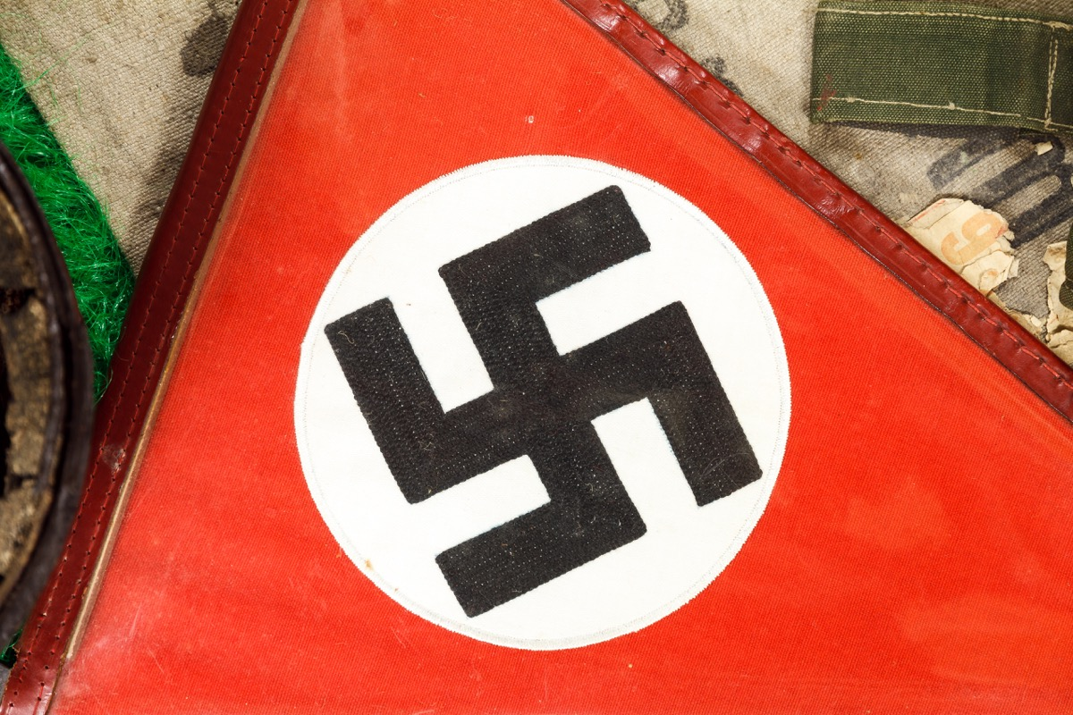 close up of a German WWII swastika on a piece of fabric from the war