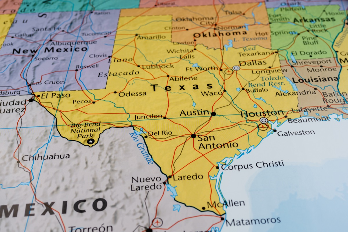 United States Map, close up on the state of Texas