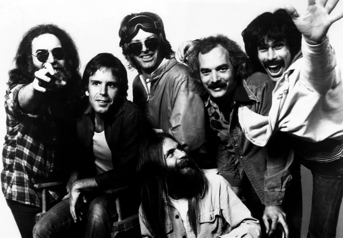 The Grateful Dead: Jerry Garcia, Bob Weir, Phill Lesh, Brent Myland, Bill Kreutzmann, Mickey Hart in the early 1980s