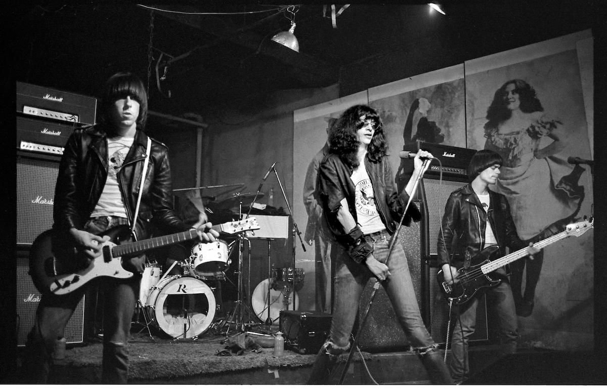 The Ramones: Johnny, Joey and Dee Dee Ramone onstage at CBGB, February 1977