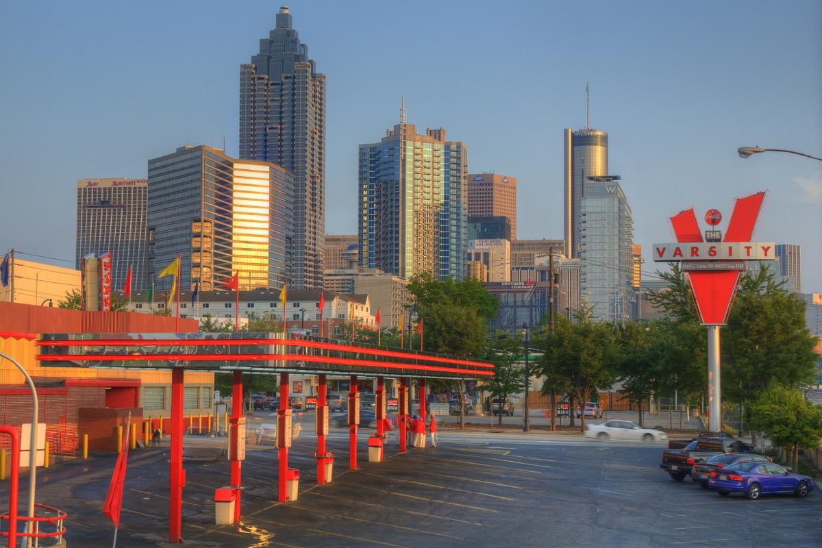 The Varsity Drive-In Restaurant in front of the Atlanta, Georgia skyline