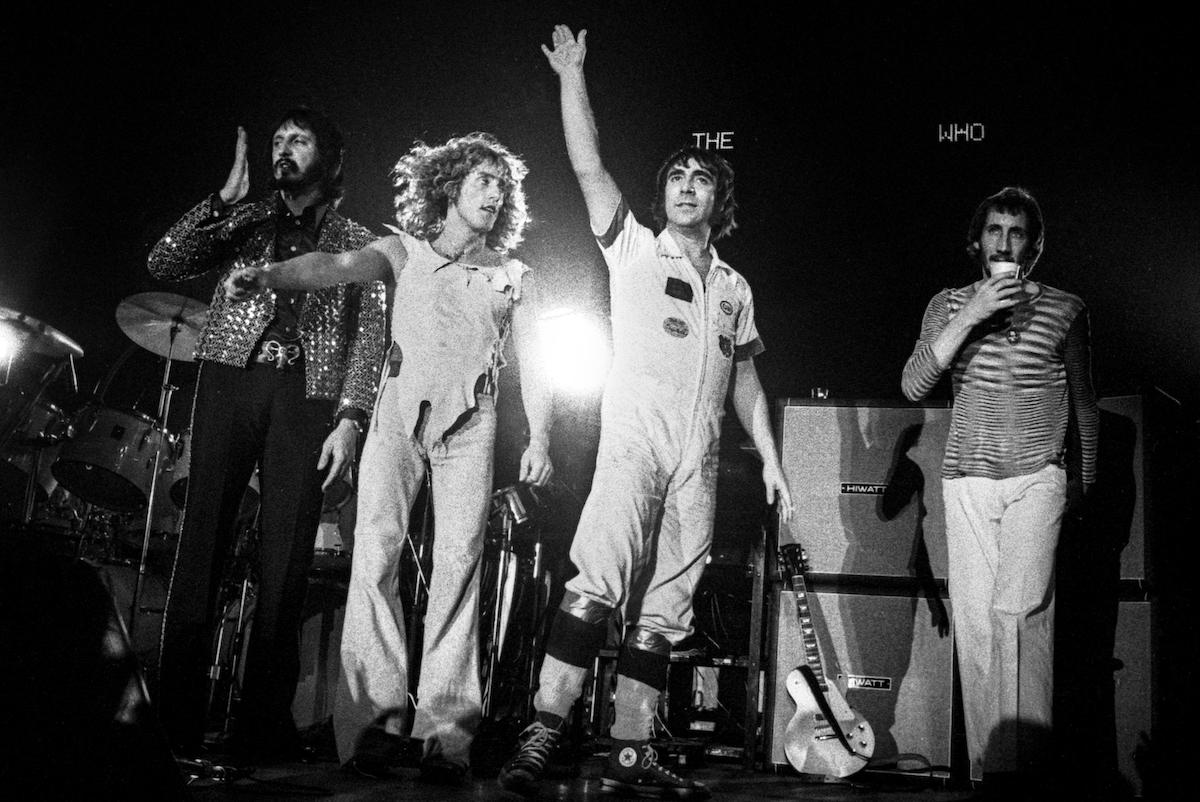 The Who perform live on stage at Ahoy in Rotterdam, Netherlands on October 27 1975 L-R Roger Daltrey, Pete Townshend, Keith Moon