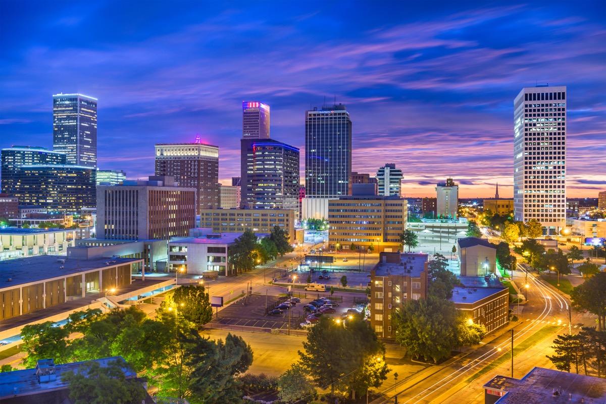 Tulsa, Oklahoma, at twilight.