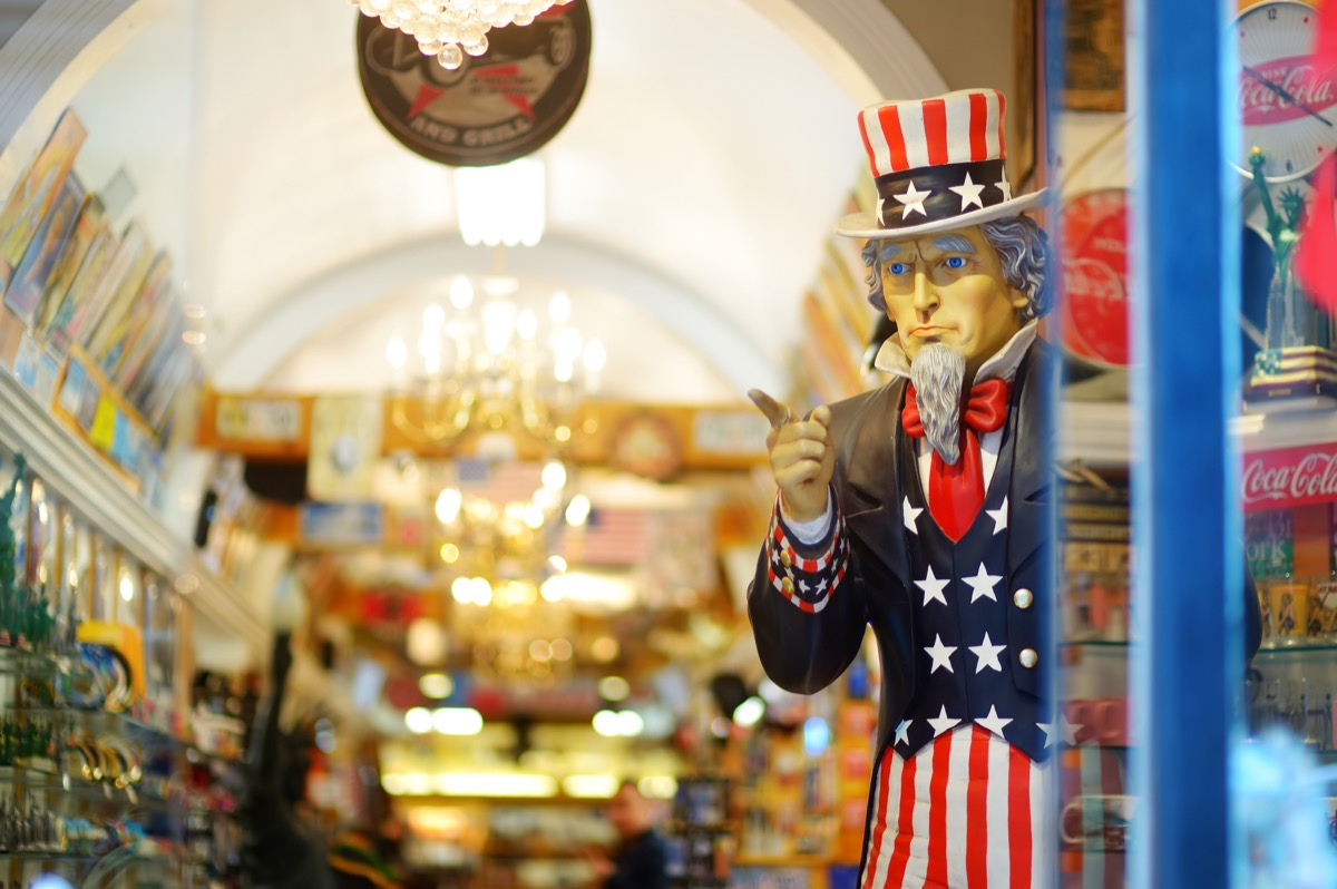 statue of Uncle Sam in the doorway of a store