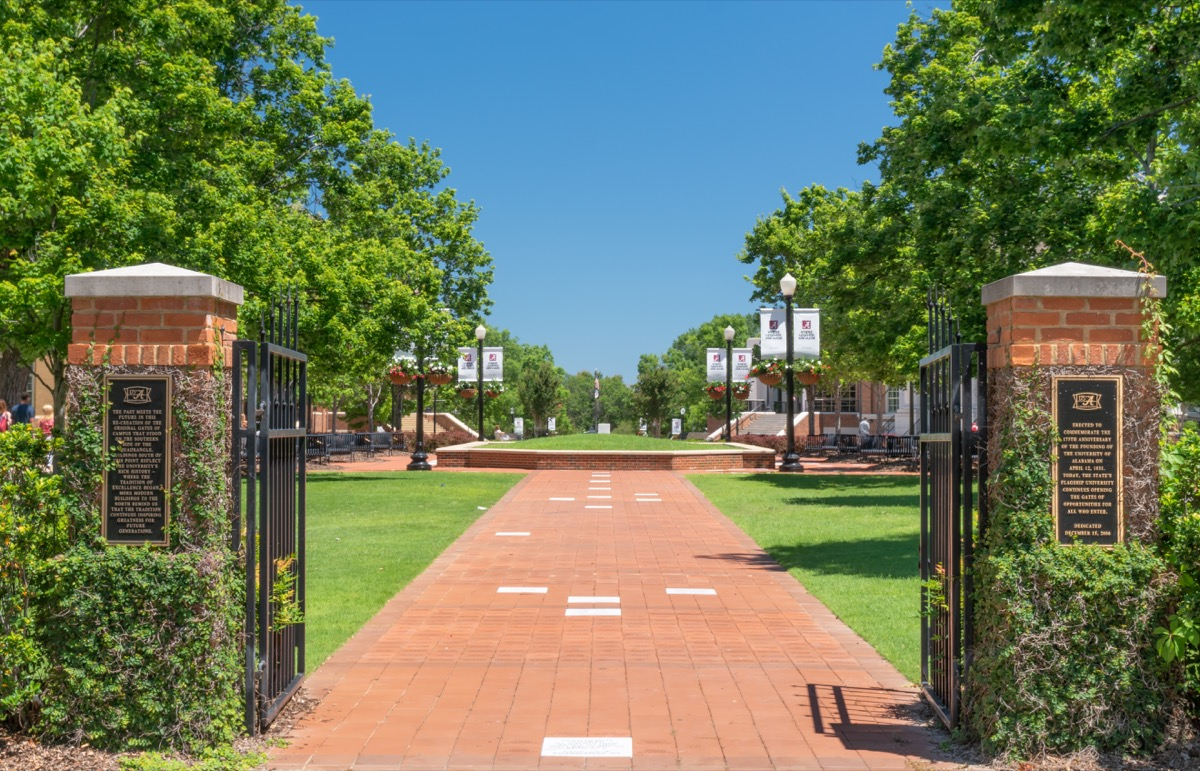 A photo of the gate entrance to the University of Alabama