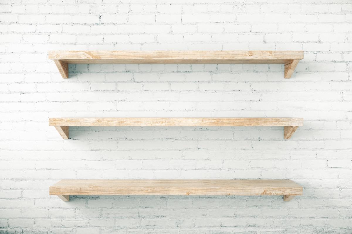 Empty Wall Shelves {No Closet Space}